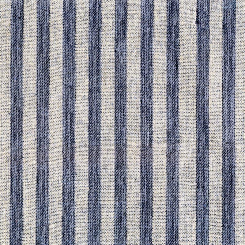 Μπλε, μπεζ, γκρίζο σχέδιο λωρίδων στο ύφασμα λινού στοκ φωτογραφίες