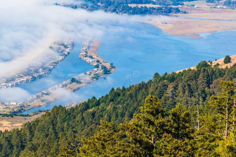 Μπλε νερό και ομίχλη στοκ φωτογραφία