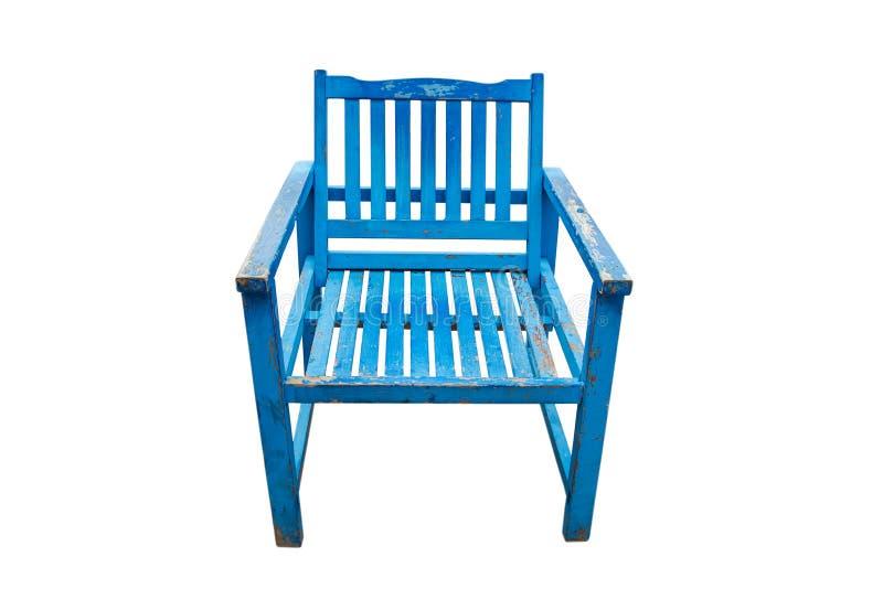 Μπλε ξύλινη καρέκλα στο άσπρο υπόβαθρο στοκ εικόνες