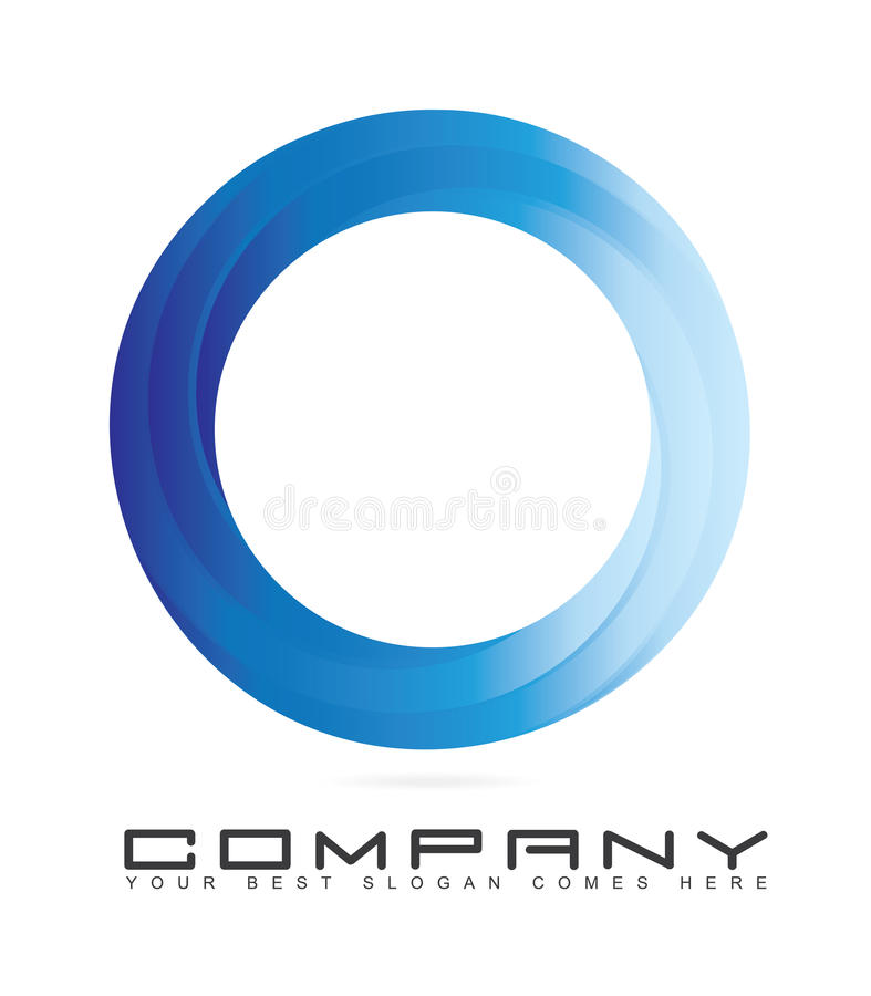 Μπλε λογότυπο κύκλων με το τρισδιάστατο βλέμμα ελεύθερη απεικόνιση δικαιώματος