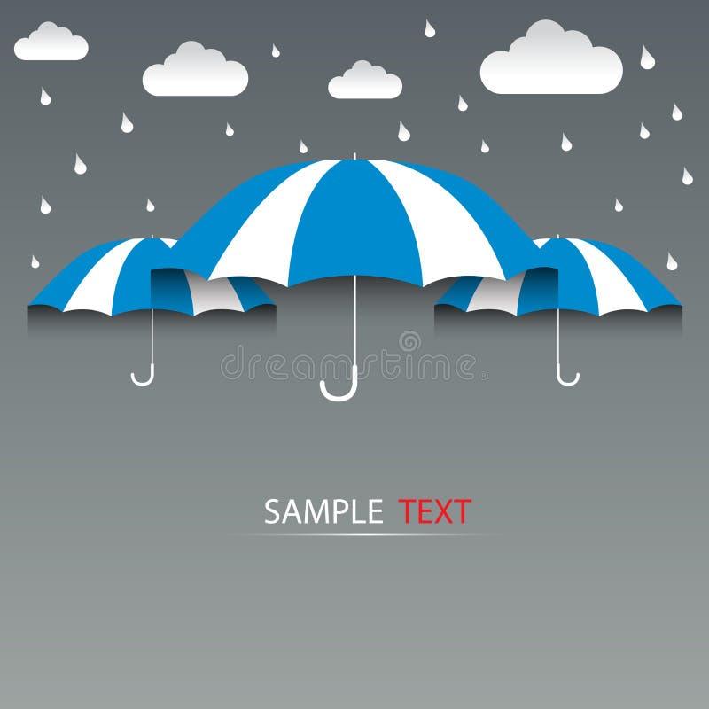 Μπλε ομπρελών και βροχή, υπόβαθρο ελεύθερη απεικόνιση δικαιώματος