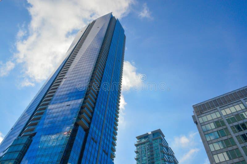 Μπλε ουρανοξύστες Τορόντο κεντρικός στοκ εικόνα με δικαίωμα ελεύθερης χρήσης