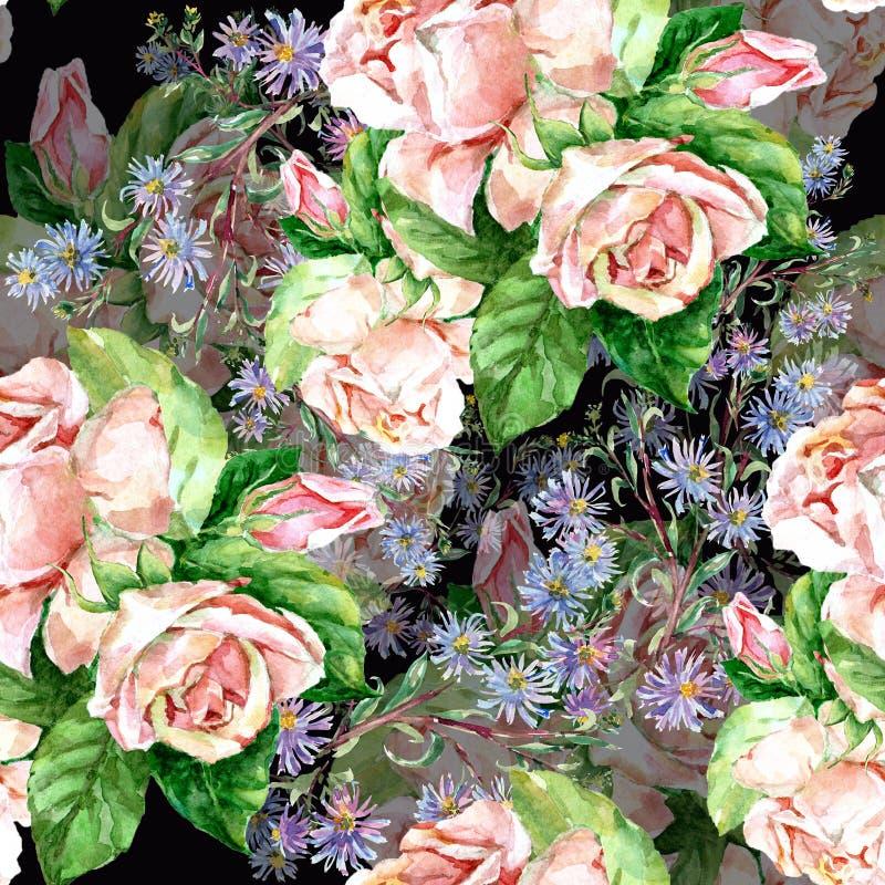 Μπλε λουλούδια και τριαντάφυλλα, watercolor απεικόνιση αποθεμάτων