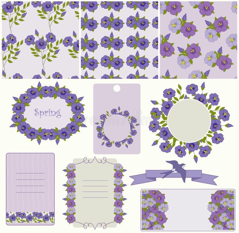 Μπλε λουλούδια διανυσματική απεικόνιση