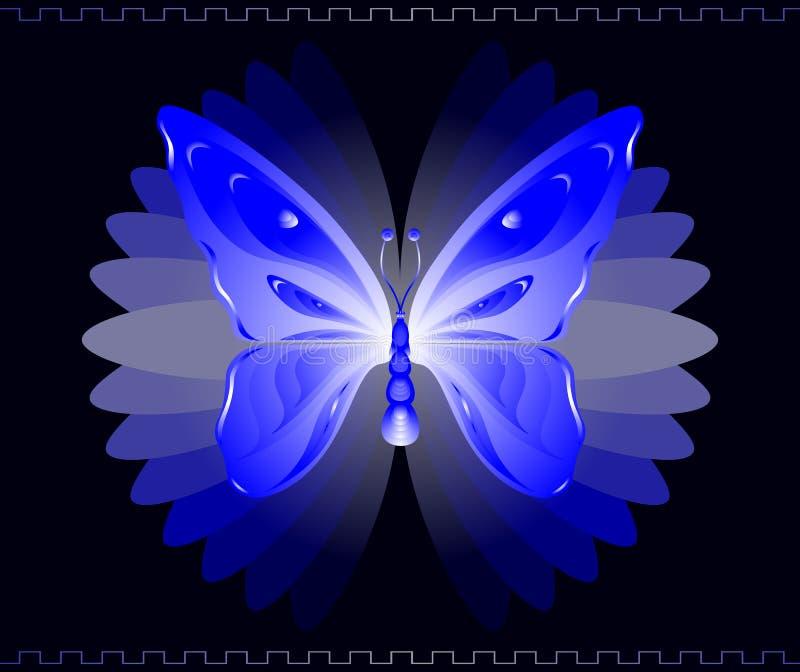 μπλε πεταλούδα διανυσματική απεικόνιση