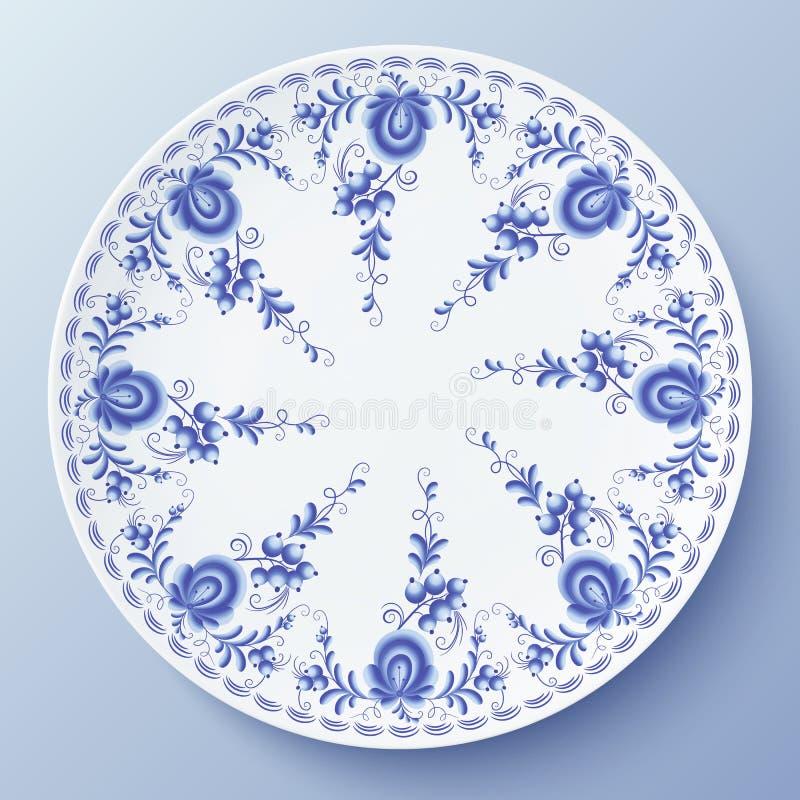 Μπλε πιάτο με τη floral διακόσμηση στο ύφος gzhel ελεύθερη απεικόνιση δικαιώματος