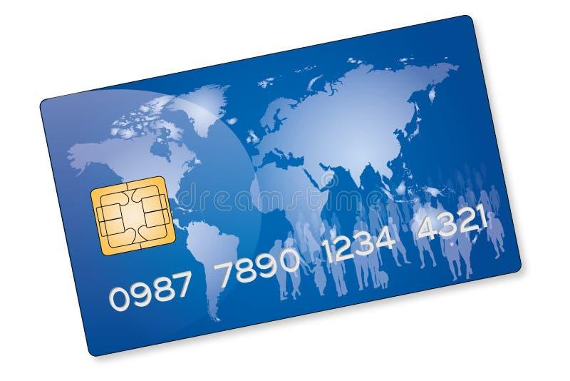 Μπλε πιστωτική κάρτα διανυσματική απεικόνιση