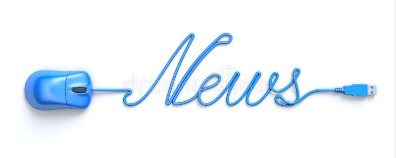 Μπλε ποντίκι και καλώδιο με μορφή των λέξη-ειδήσεων απεικόνιση αποθεμάτων
