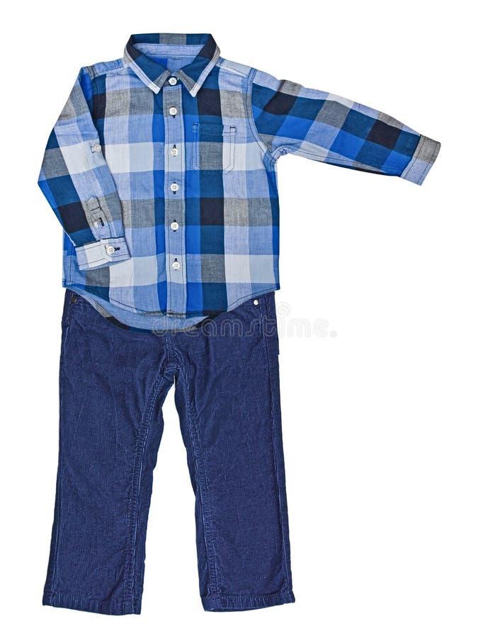 Μπλε πουκάμισο καρό με ένα μακρύ μανίκι και μπλε velveteen παντελόνι στοκ εικόνα με δικαίωμα ελεύθερης χρήσης