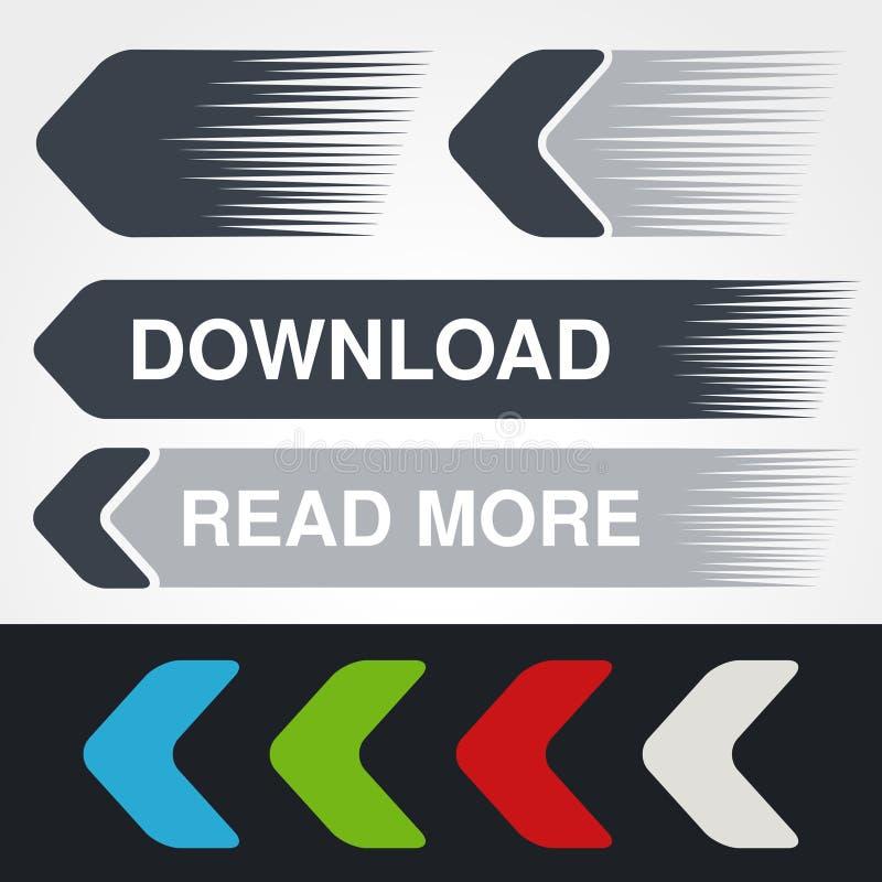 Μπλε, πράσινα, κόκκινα, άσπρα και γκρίζα βέλη ταχύτητας Απλά κουμπιά βελών Δείκτης στον Ιστό Το σημάδι μεταφορτώνει, επόμενος, δι διανυσματική απεικόνιση