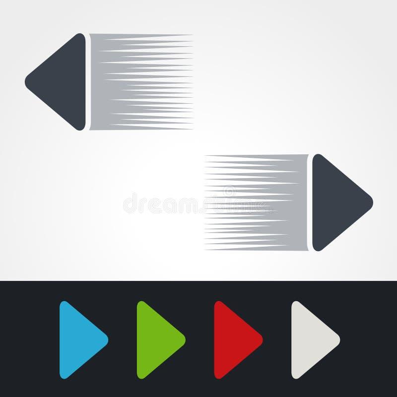 Μπλε, πράσινα, κόκκινα, άσπρα και γκρίζα βέλη ταχύτητας Απλά κουμπιά βελών Δείκτης στον Ιστό Το σημάδι έπειτα, διάβασε περισσότερ απεικόνιση αποθεμάτων