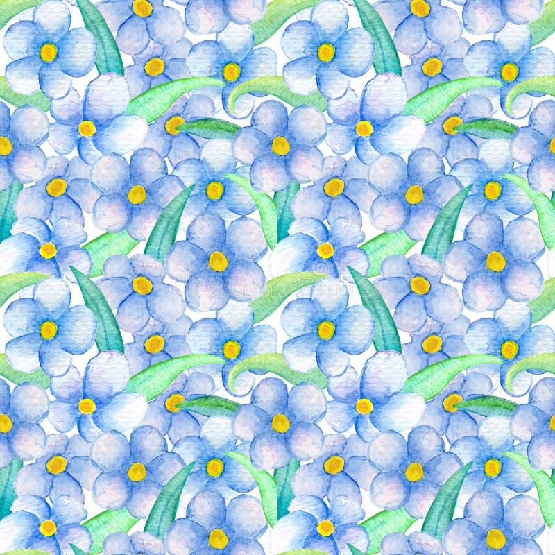 μπλε πρότυπο λουλουδιώ Ζωγραφισμένη στο χέρι floral απεικόνιση watercolor διανυσματική απεικόνιση
