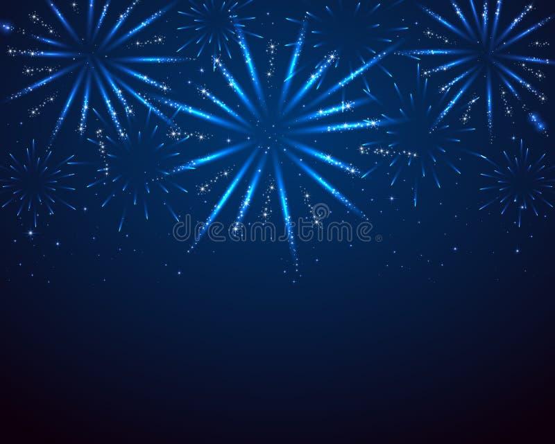 Μπλε πυροτεχνήματα σπινθηρίσματος ελεύθερη απεικόνιση δικαιώματος