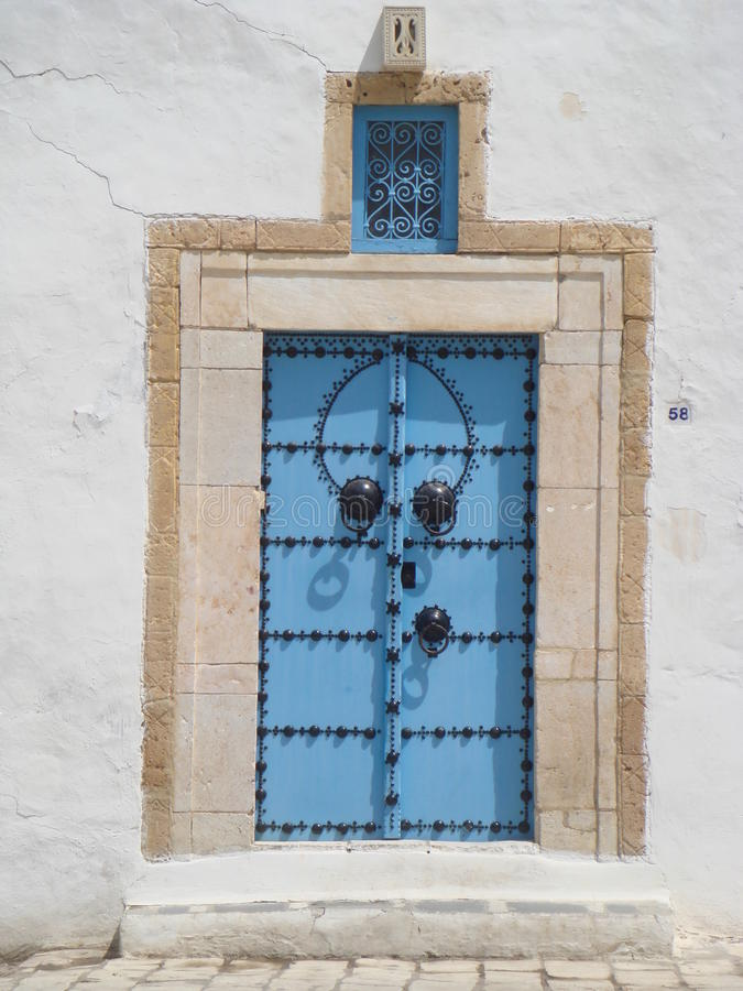 Μπλε πόρτες Sidi εν λόγω Bou Τυνησία στοκ φωτογραφίες με δικαίωμα ελεύθερης χρήσης