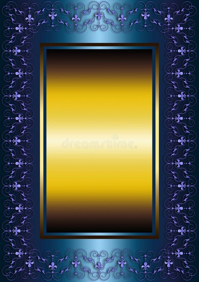 Μπλε πλαίσιο με το ανοικτό μωβ floral σχέδιο και τους εραλδικούς κρίνους ελεύθερη απεικόνιση δικαιώματος