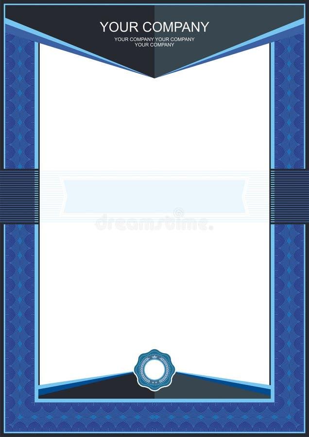 Μπλε πλαίσιο πιστοποιητικών ή προτύπων διπλωμάτων - σύνορα διανυσματική απεικόνιση