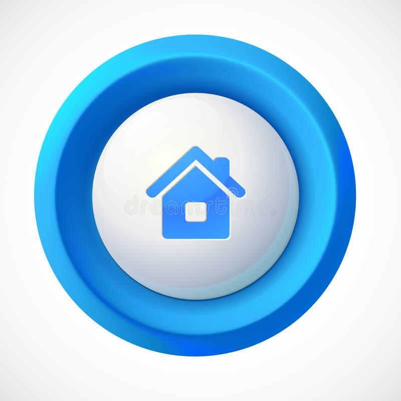 Μπλε πλαστικό διανυσματικό σπίτι γύρω από το κουμπί διανυσματική απεικόνιση