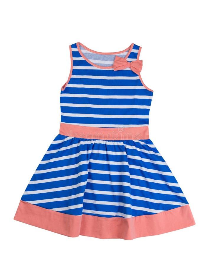 Μπλε ριγωτό φόρεμα μωρών απομονώστε στοκ φωτογραφίες με δικαίωμα ελεύθερης χρήσης