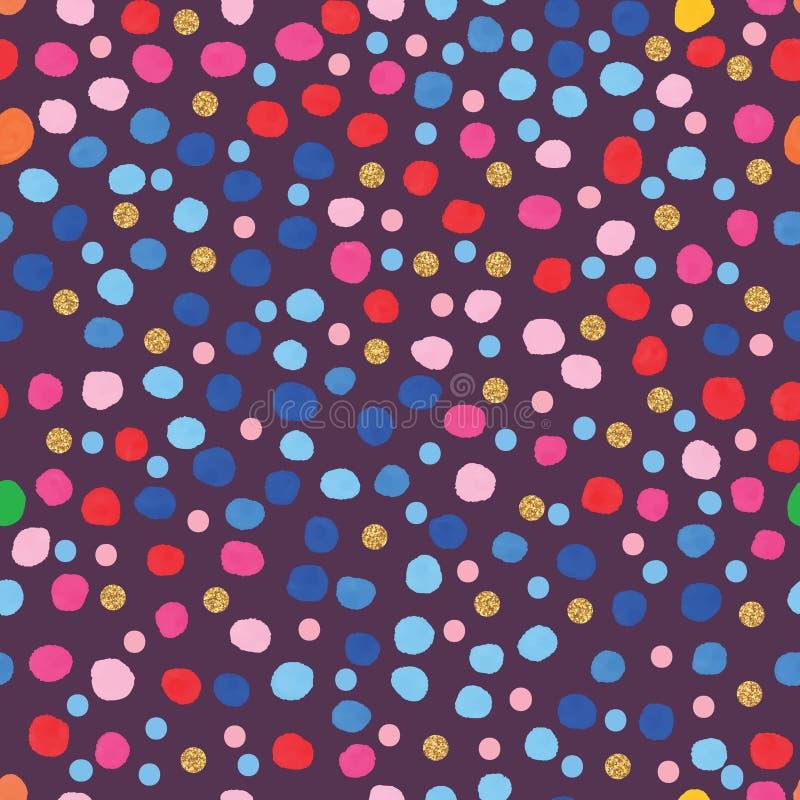 Μπλε ρόδινο άνευ ραφής σχέδιο σημείων watercolor ύφους απεικόνιση αποθεμάτων