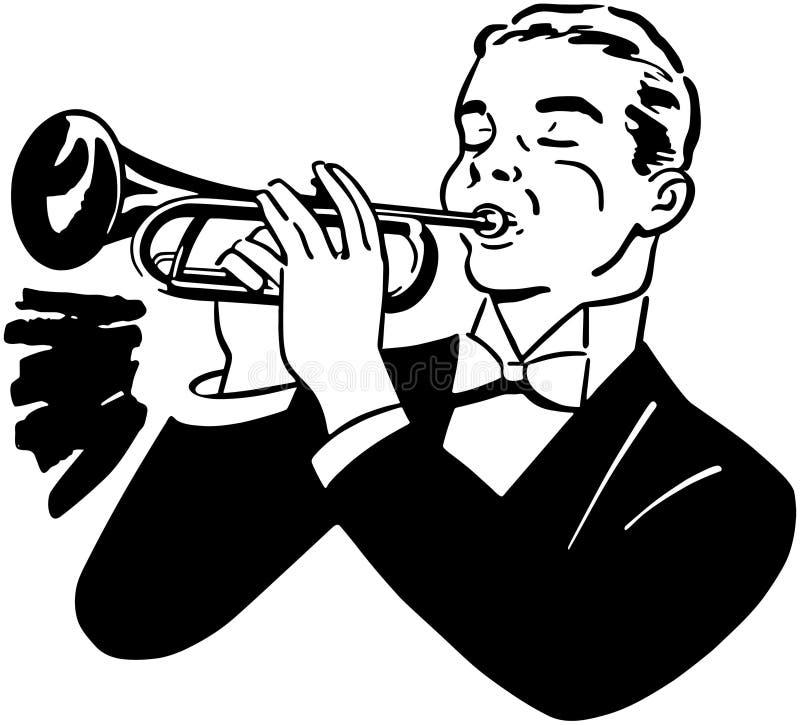 μπλε σάλπιγγα W τόνου saxophone φορέων εστίασης δάχτυλων β απεικόνιση αποθεμάτων