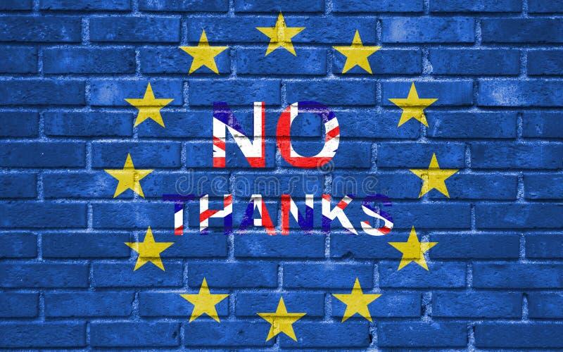 Μπλε σημαία της ΕΕ ευρωπαϊκών ενώσεων Brexit στο τουβλότοιχο και λέξη όχι, ευχαριστώ με τη σημαία της Μεγάλης Βρετανίας ελεύθερη απεικόνιση δικαιώματος