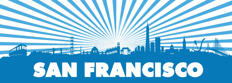 Μπλε σκιαγραφία ακτίνων ήλιων του Σαν Φρανσίσκο ελεύθερη απεικόνιση δικαιώματος