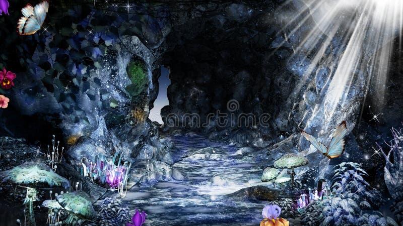 Μπλε σπηλιά με τις ακτίνες ήλιων απεικόνιση αποθεμάτων