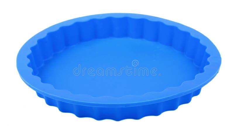 Μπλε στρογγυλή μορφή κέικ σιλικόνης στοκ εικόνες