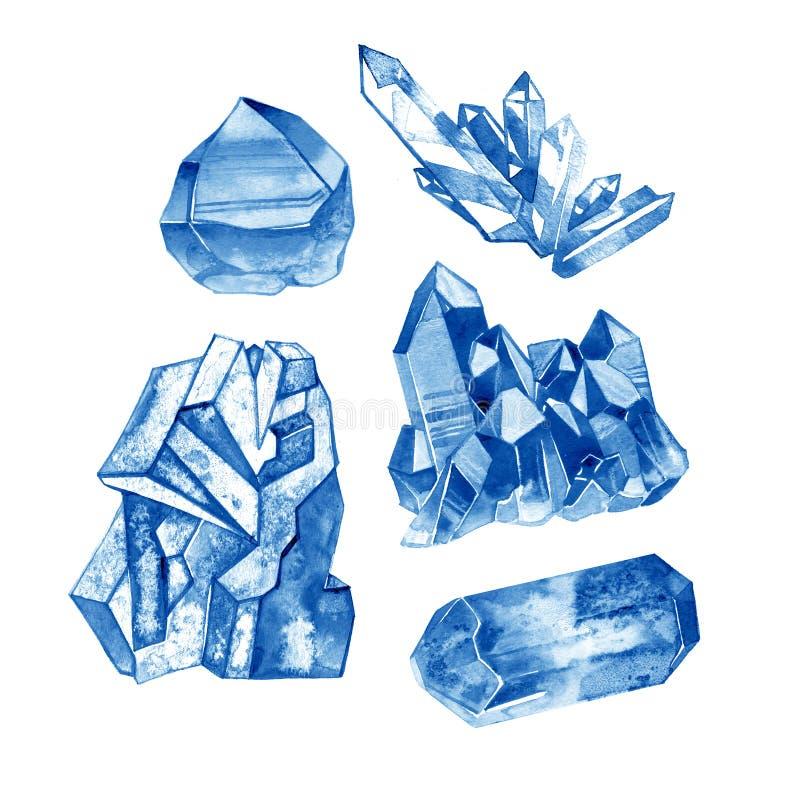 Μπλε συλλογή πολύτιμων λίθων κρυστάλλου Watercolor Χρωματισμένη χέρι απεικόνιση με τα μεταλλεύματα που απομονώνεται στο άσπρο υπό ελεύθερη απεικόνιση δικαιώματος