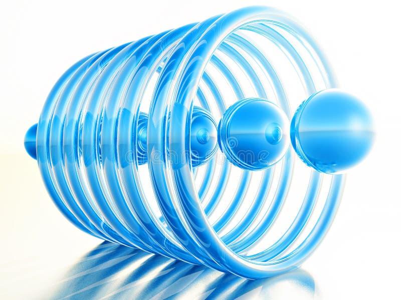 Μπλε σφαίρες μέσα στα δαχτυλίδια στα άσπρα υπόβαθρα διανυσματική απεικόνιση