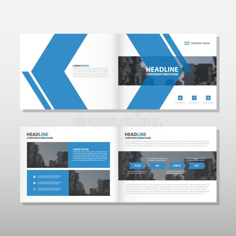 Μπλε σχέδιο προτύπων ιπτάμενων φυλλάδιων φυλλάδιων ετήσια εκθέσεων βελών διανυσματικό, σχέδιο σχεδιαγράμματος κάλυψης βιβλίων, αφ διανυσματική απεικόνιση