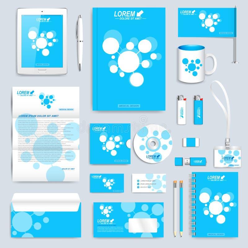 Μπλε σύνολο διανυσματικού εταιρικού προτύπου ταυτότητας Σύγχρονη χλεύη επιχειρησιακών χαρτικών επάνω Σχέδιο μαρκαρίσματος με το ε διανυσματική απεικόνιση