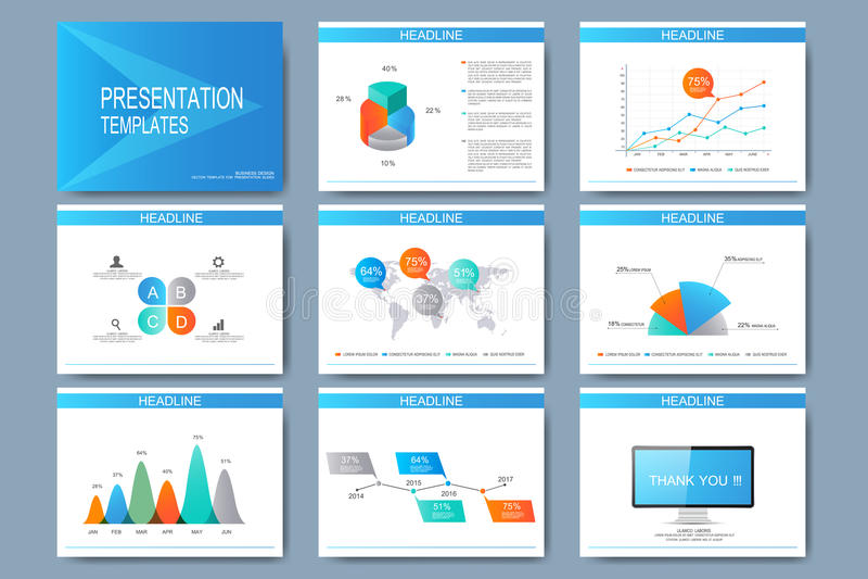 Μπλε σύνολο διανυσματικών προτύπων για τις για πολλές χρήσεις φωτογραφικές διαφάνειες παρουσίασης Σύγχρονο επιχειρησιακό επίπεδο  διανυσματική απεικόνιση