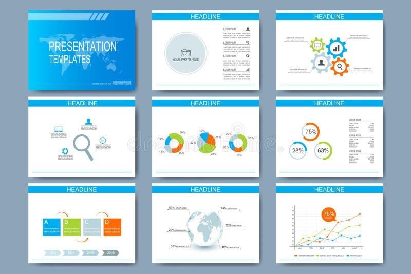 Μπλε σύνολο διανυσματικών προτύπων για τις για πολλές χρήσεις φωτογραφικές διαφάνειες παρουσίασης Σύγχρονο επιχειρησιακό επίπεδο  ελεύθερη απεικόνιση δικαιώματος