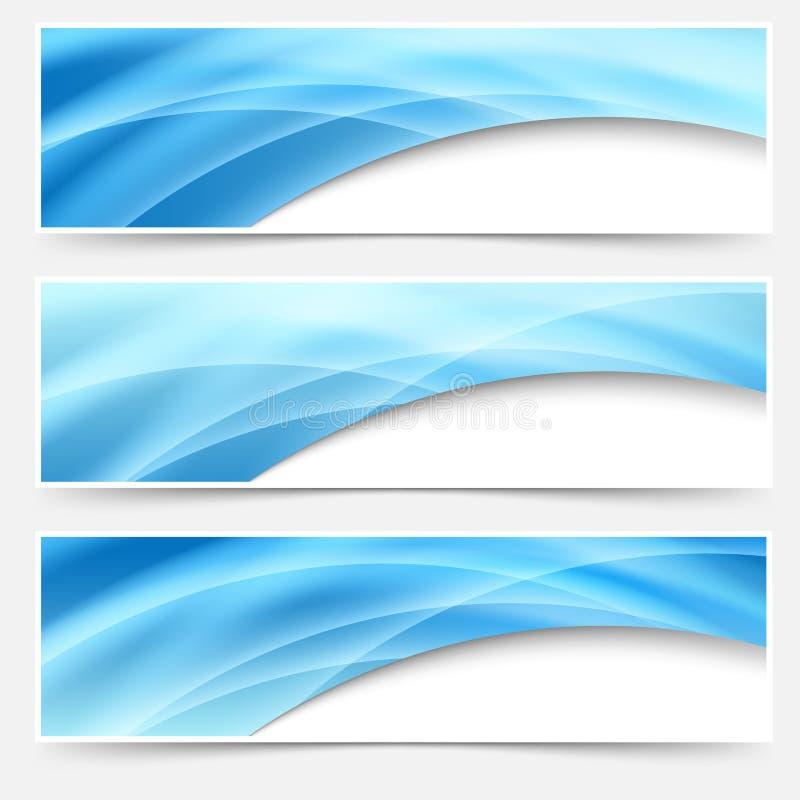 Μπλε σύνολο υποσημείωσης επιγραφών γραμμών πυράκτωσης swoosh ελεύθερη απεικόνιση δικαιώματος
