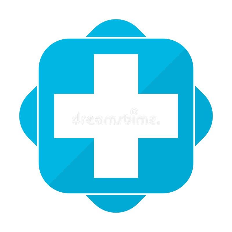 Μπλε τετραγωνικό εικονίδιο συν το νοσοκομείο απεικόνιση αποθεμάτων