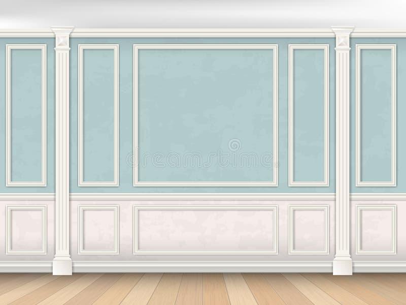 Μπλε τοίχος με τα pilasters και τη λευκιά επιτροπή ελεύθερη απεικόνιση δικαιώματος