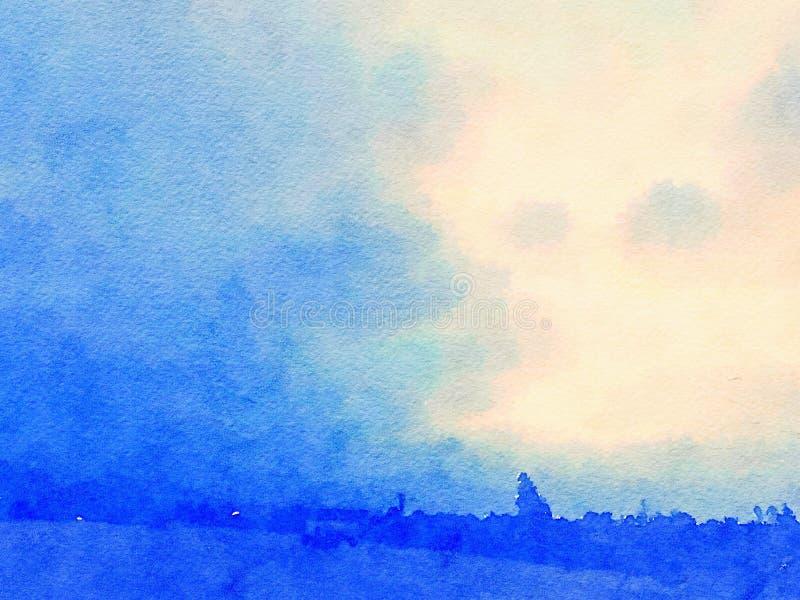 Μπλε τοπίων και ουρανού Watercolor με το ηλιοβασίλεμα στοκ φωτογραφία
