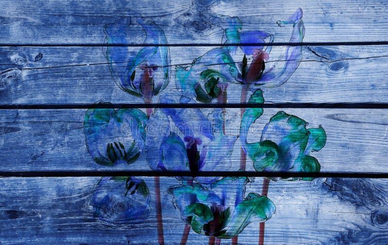 Μπλε τουλίπες και πέταλα διανυσματική απεικόνιση