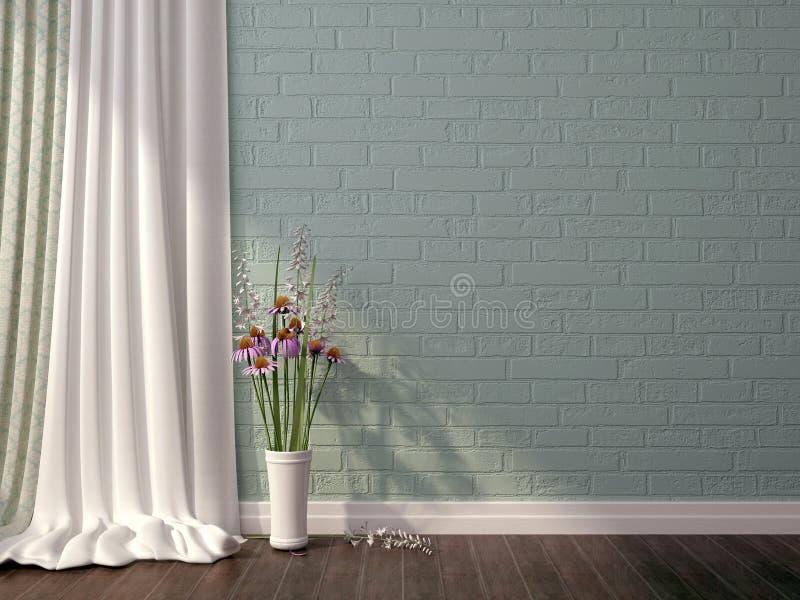 Μπλε τούβλο και λουλούδια ελεύθερη απεικόνιση δικαιώματος