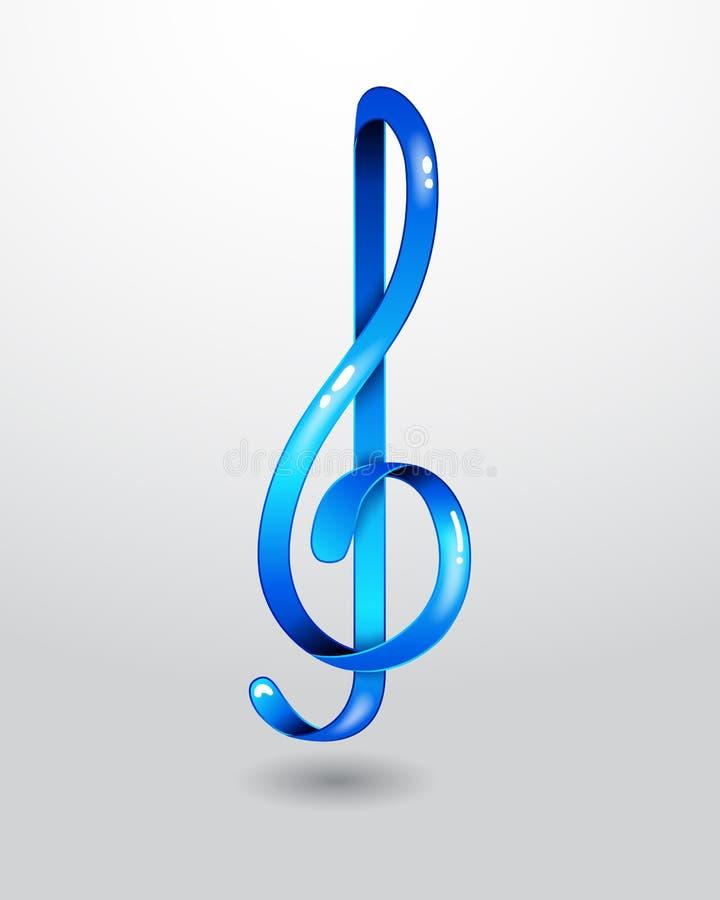 Μπλε τριπλό clef γυαλιού απεικόνιση αποθεμάτων