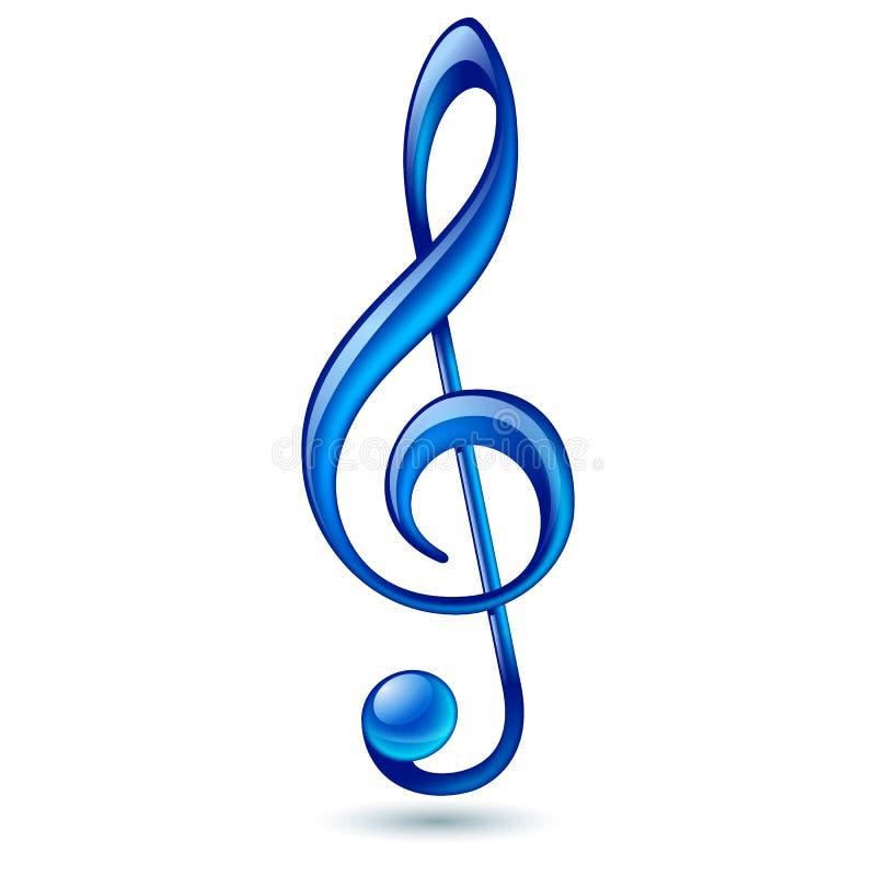 Μπλε τριπλό clef ελεύθερη απεικόνιση δικαιώματος