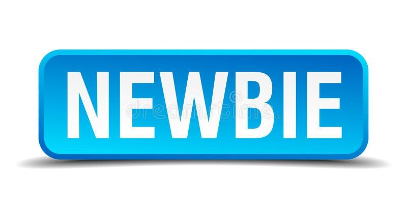 Μπλε τρισδιάστατο ρεαλιστικό τετραγωνικό κουμπί Newbie ελεύθερη απεικόνιση δικαιώματος