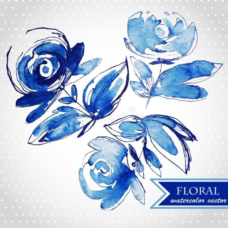 Μπλε τρόχισμα λουλουδιών watercolor ελεύθερη απεικόνιση δικαιώματος