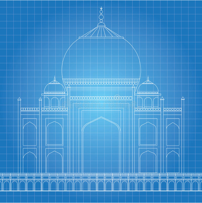 Μπλε τυπωμένη ύλη Taj Mahal ελεύθερη απεικόνιση δικαιώματος