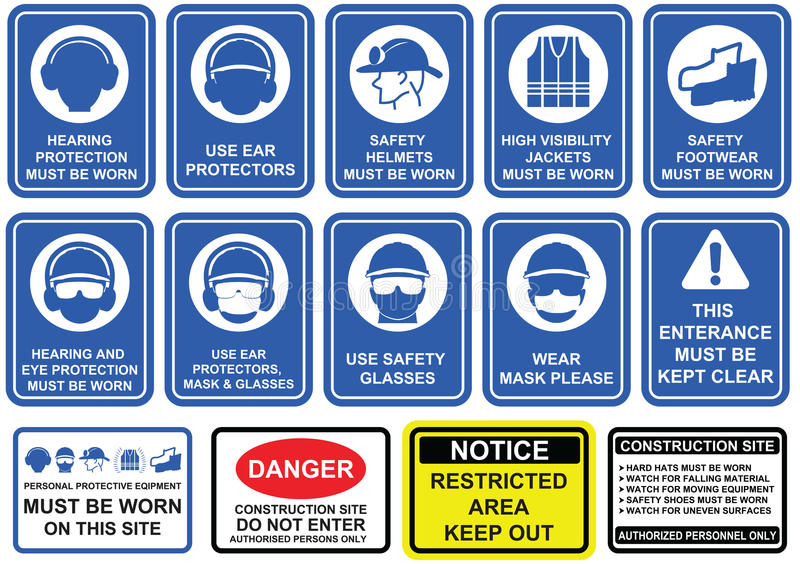 Μπλε υποχρεωτικό σύνολο σημαδιών εξοπλισμού ασφάλειας στο άσπρο εικονόγραμμα απεικόνιση αποθεμάτων