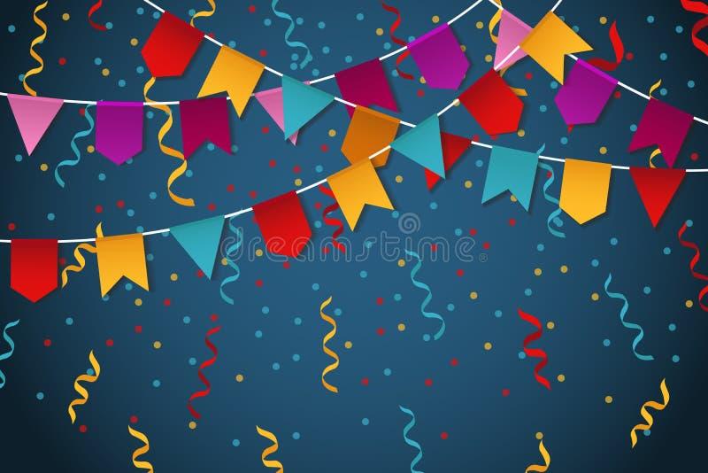 Μπλε υπόβαθρο εορτασμού κομμάτων γιρλαντών σημαιών για τη διανυσματική απεικόνιση εμβλημάτων γιορτής ελεύθερη απεικόνιση δικαιώματος