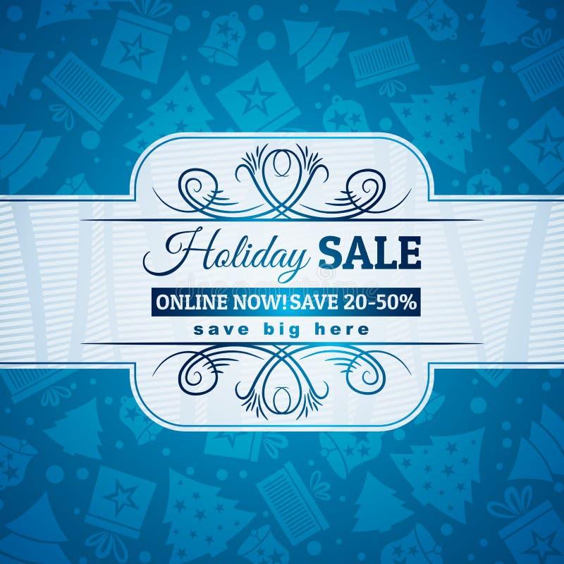 Μπλε υπόβαθρο και ετικέτα Χριστουγέννων με την πώληση offe διανυσματική απεικόνιση