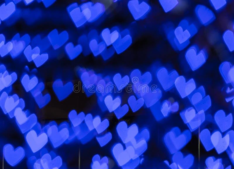 Μπλε υπόβαθρο καρδιών bokeh, περίληψη bokeh στοκ φωτογραφία με δικαίωμα ελεύθερης χρήσης