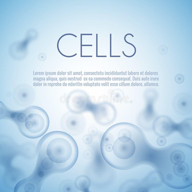 Μπλε υπόβαθρο κυττάρων διανυσματική απεικόνιση